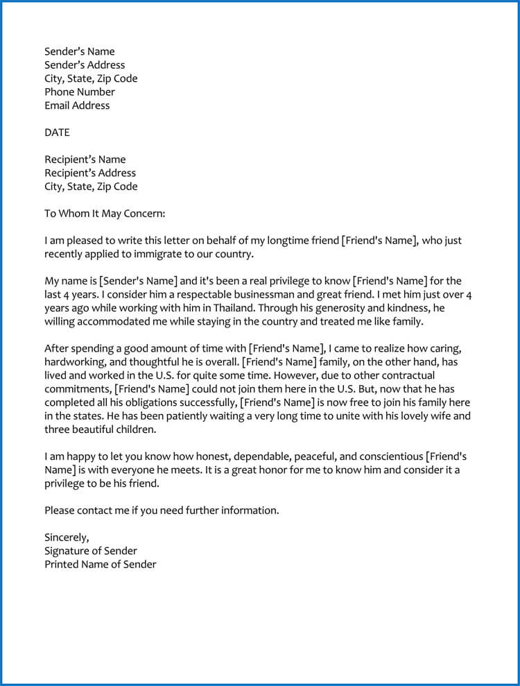 Immigration Reference Letter For A Friend Template from www.wordtemplatesonline.net