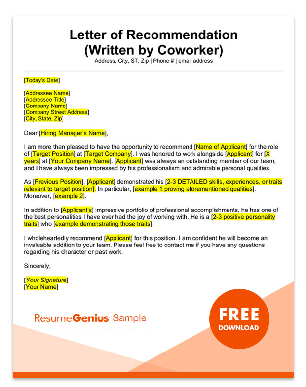 Template For Writing A Letter Of Recommendation from resumegenius.com