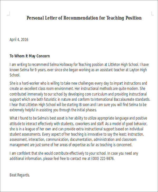 Sample Letter Of Recommendation For A Teacher Position from images.sampletemplates.com