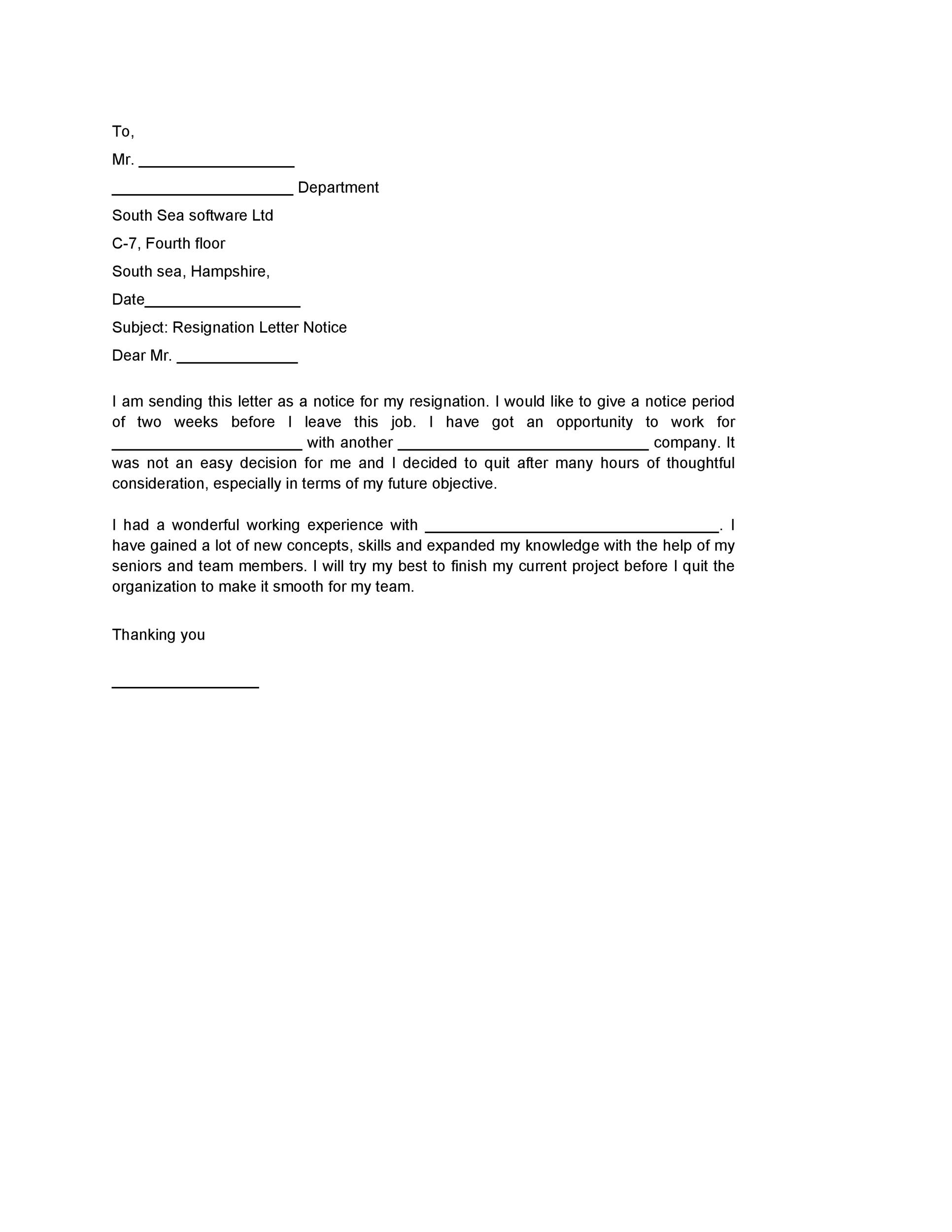 2 Week Notice Letter For Work from templatelab.com