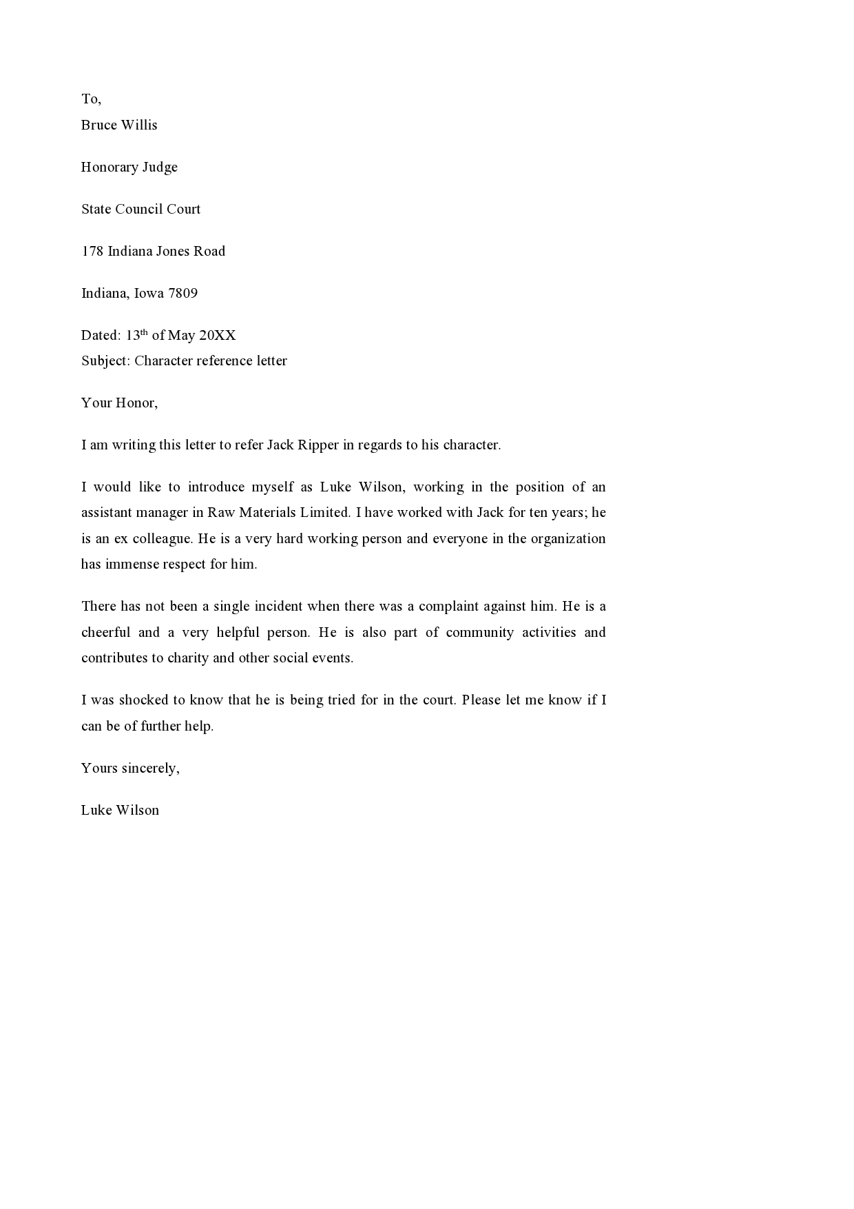 Character Reference Letter For Court Child Custody from templatearchive.com
