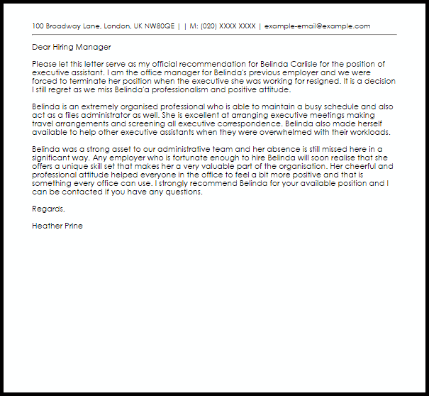 Letter Of Recommendation From Employer from www.livecareer.co.uk