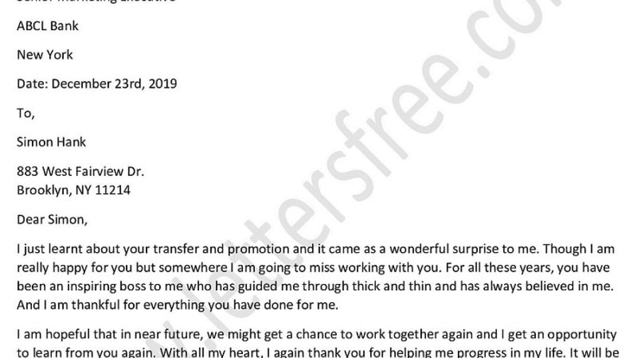 Thank You Boss Letter from www.lettersfree.com