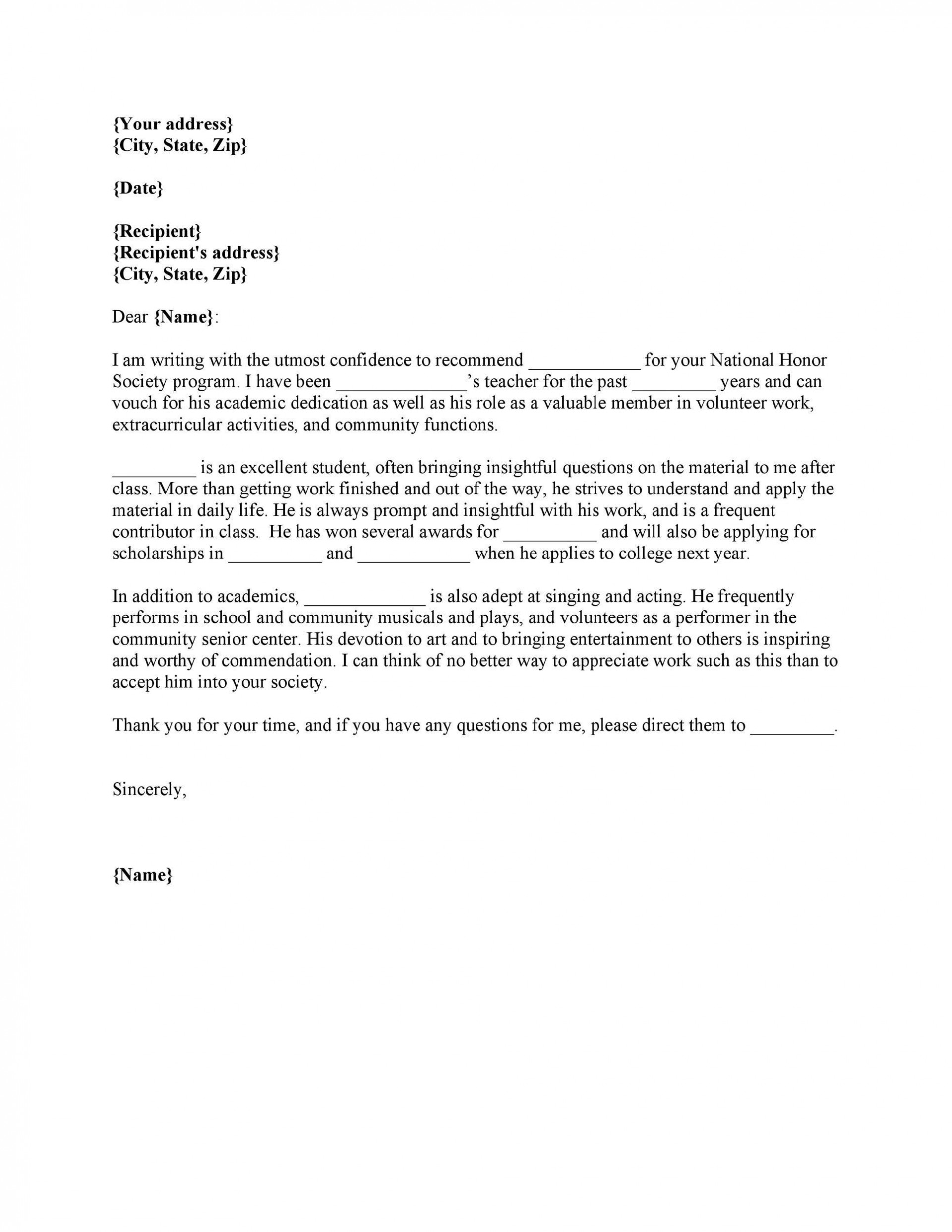 Letter Of Recommendation Template Teacher from www.addictionary.org