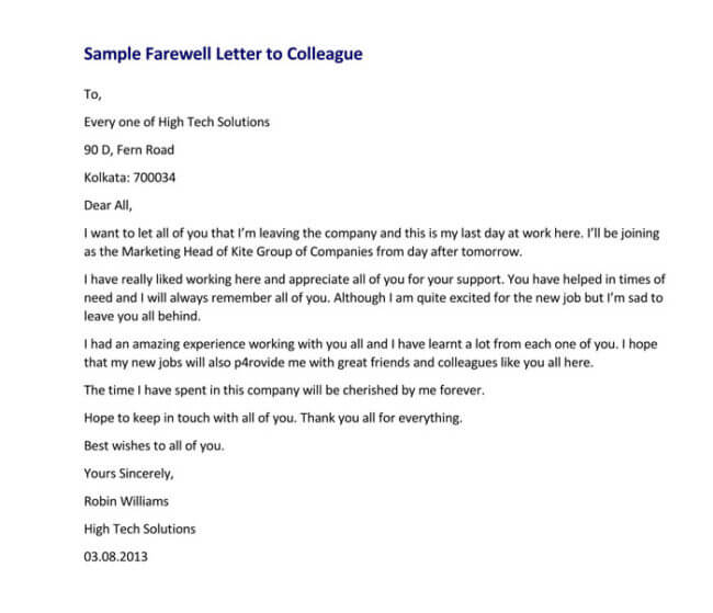 Letter To Coworkers When Leaving from www.wordtemplatesonline.net