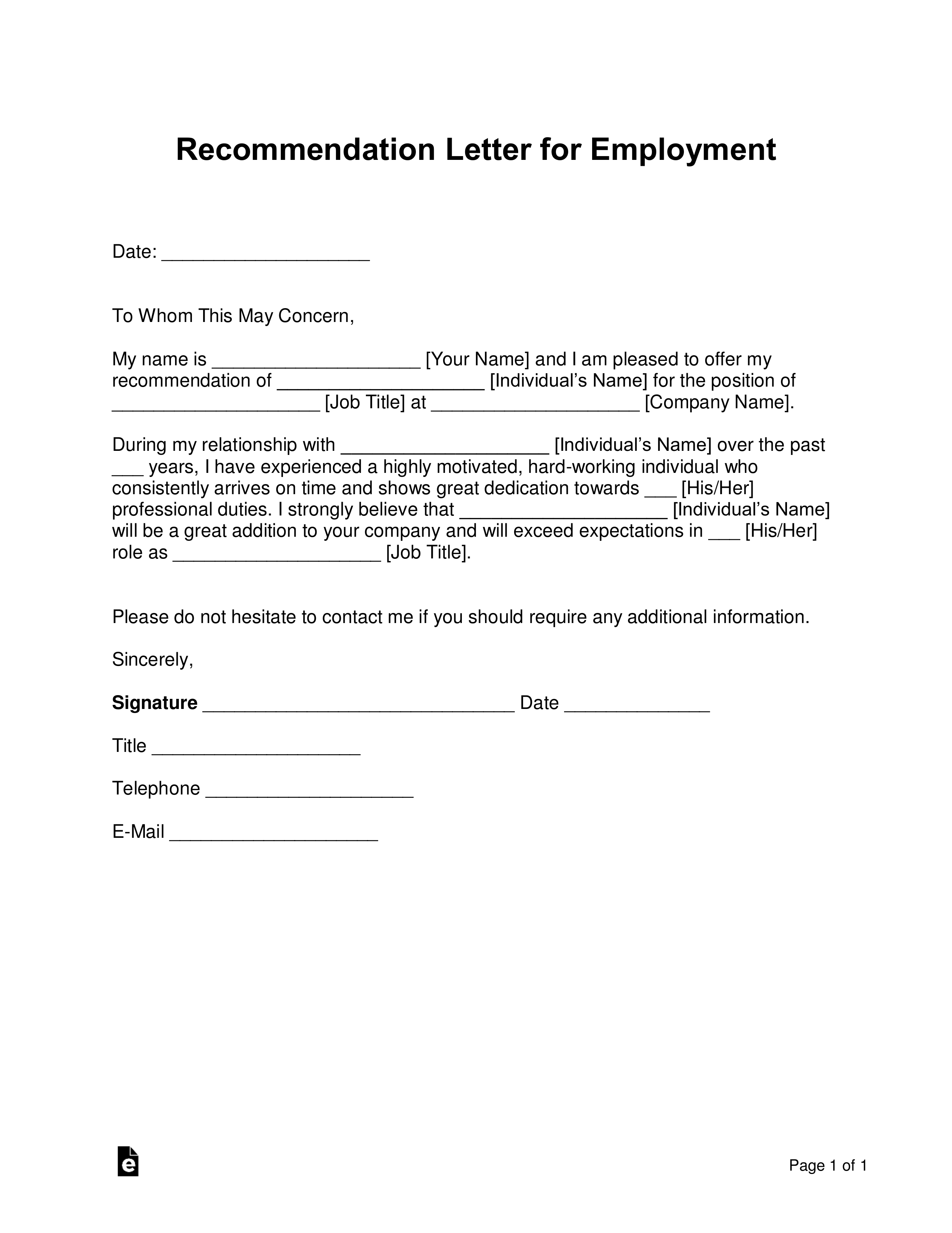 Work Letter Of Recommendation from eforms.com