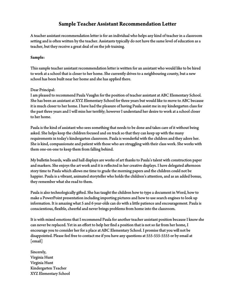 Teaching Letter Of Recommendation from www.wordtemplatesonline.net