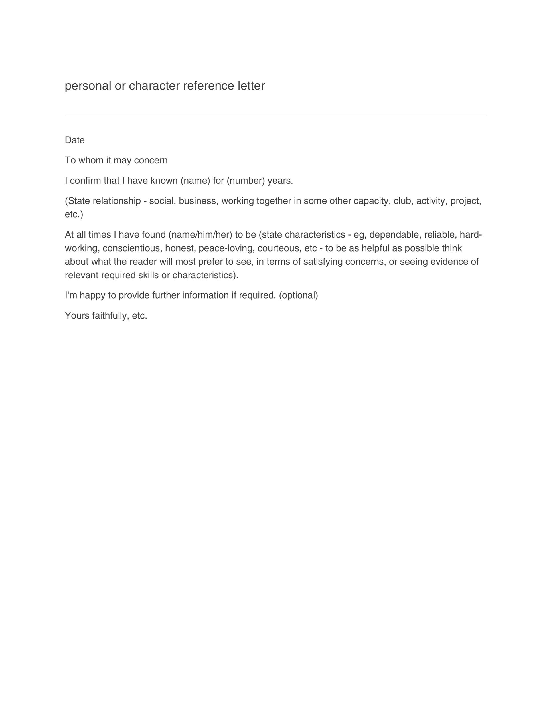 Personal Reference Letter Examples from templatelab.com