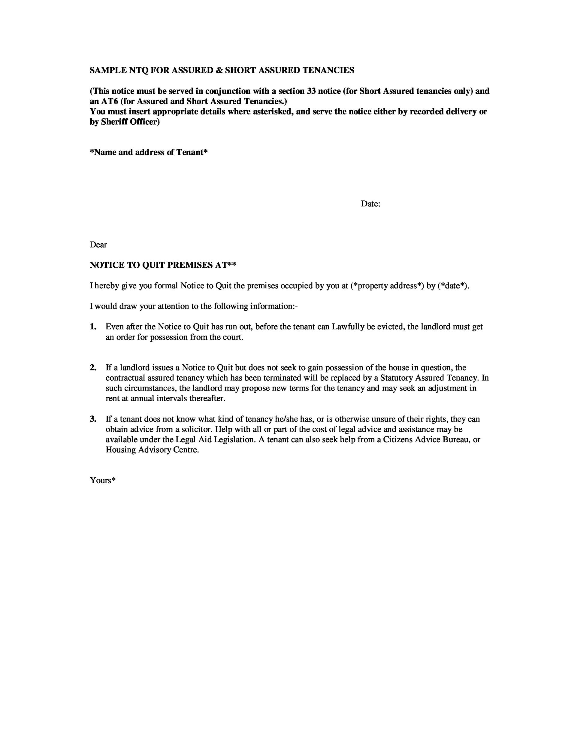 Sample Letter To Tenant To Move Out from templatelab.com