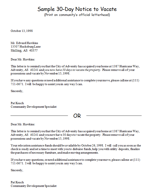 Landlord To Tenant Notice To Vacate Letter from www.freetemplatedownloads.net