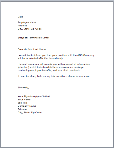 Sample Termination Of Employment Letter from www.smartletters.org