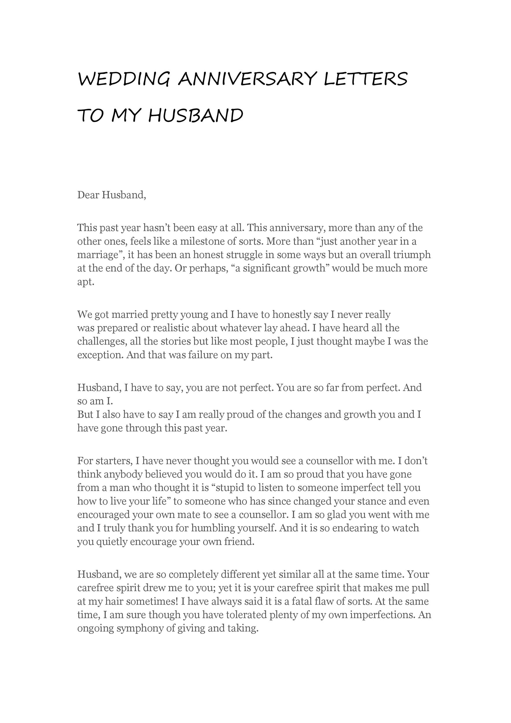 Happy Anniversary Letter To Wife from templatelab.com
