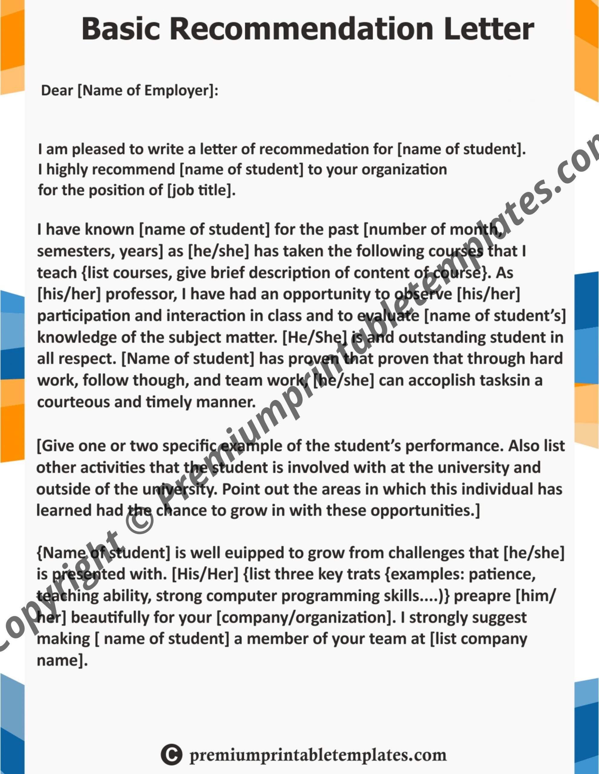 Letter Of Recommendation Templates from premiumprintabletemplates.com