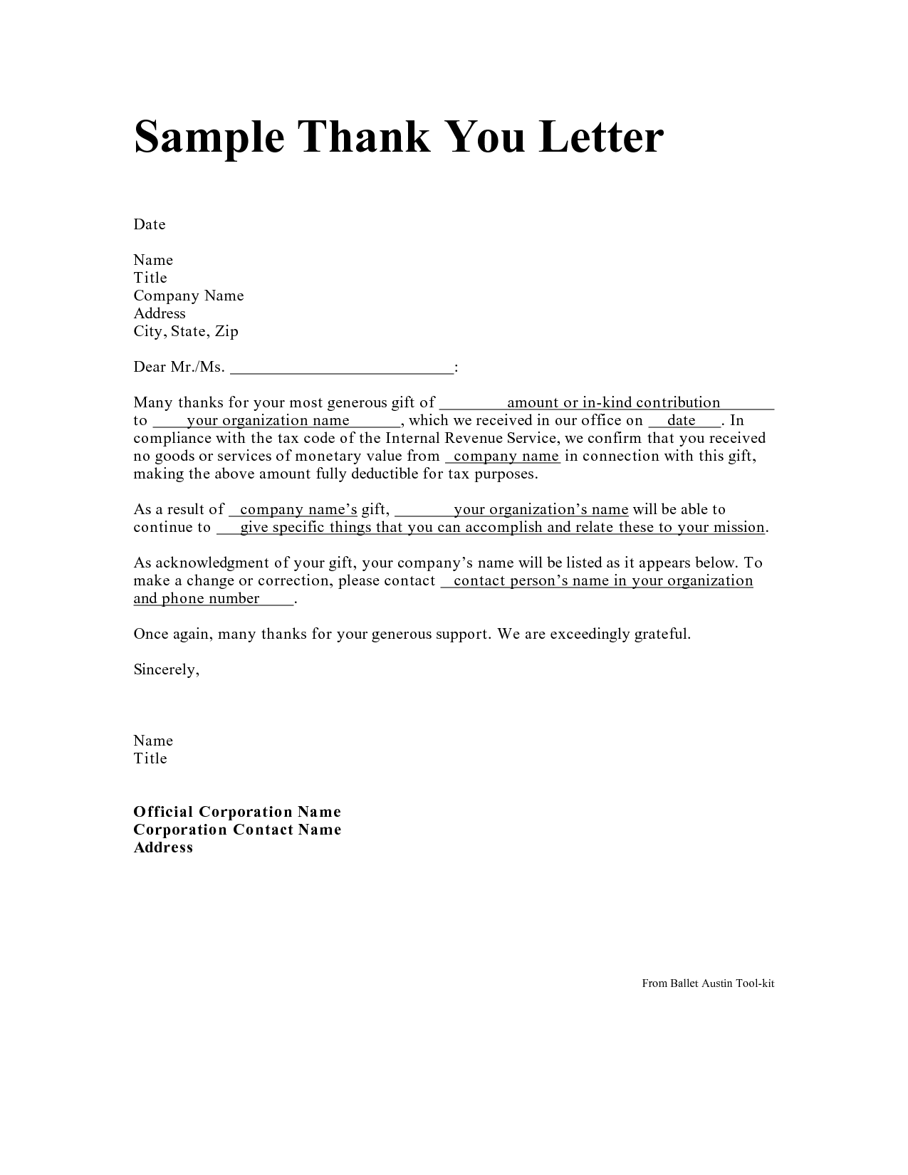 Thank You Sample Letter from i.pinimg.com