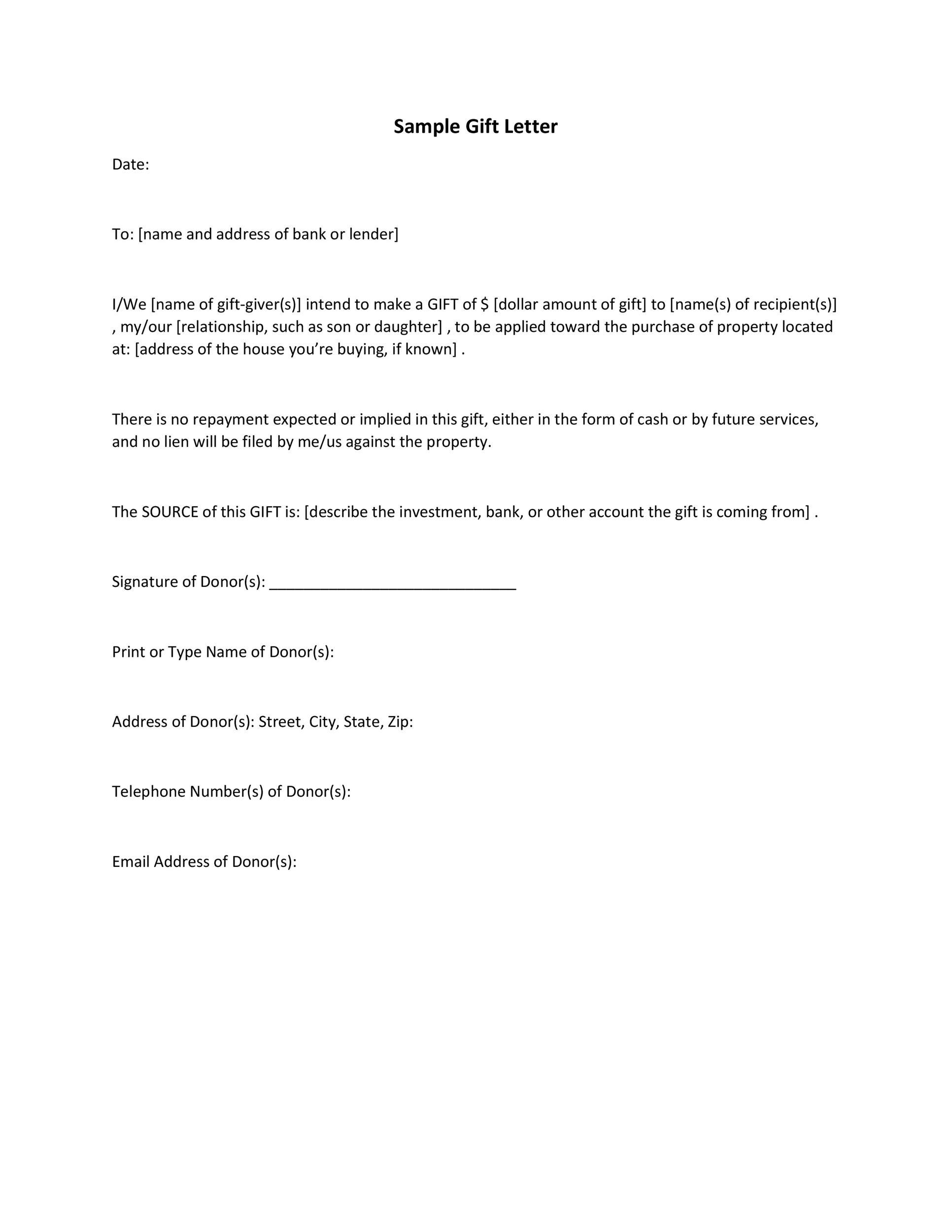 Sample Gift Letter For Mortgage from templatelab.com