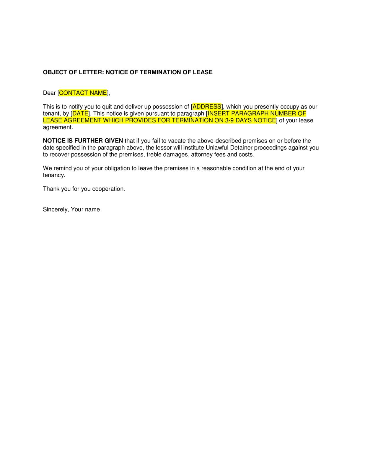 Tenant To Landlord Lease Termination Letter from blanker.org