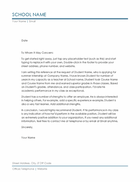 Student Letter Of Recommendation Template from binaries.templates.cdn.office.net