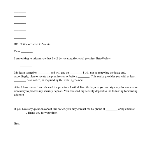 Vacating The Premises Letter To Landlord from www.wonder.legal