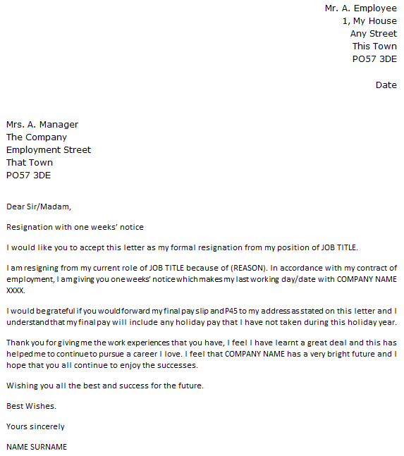 Simple 2 Week Notice Letter from icover.org.uk