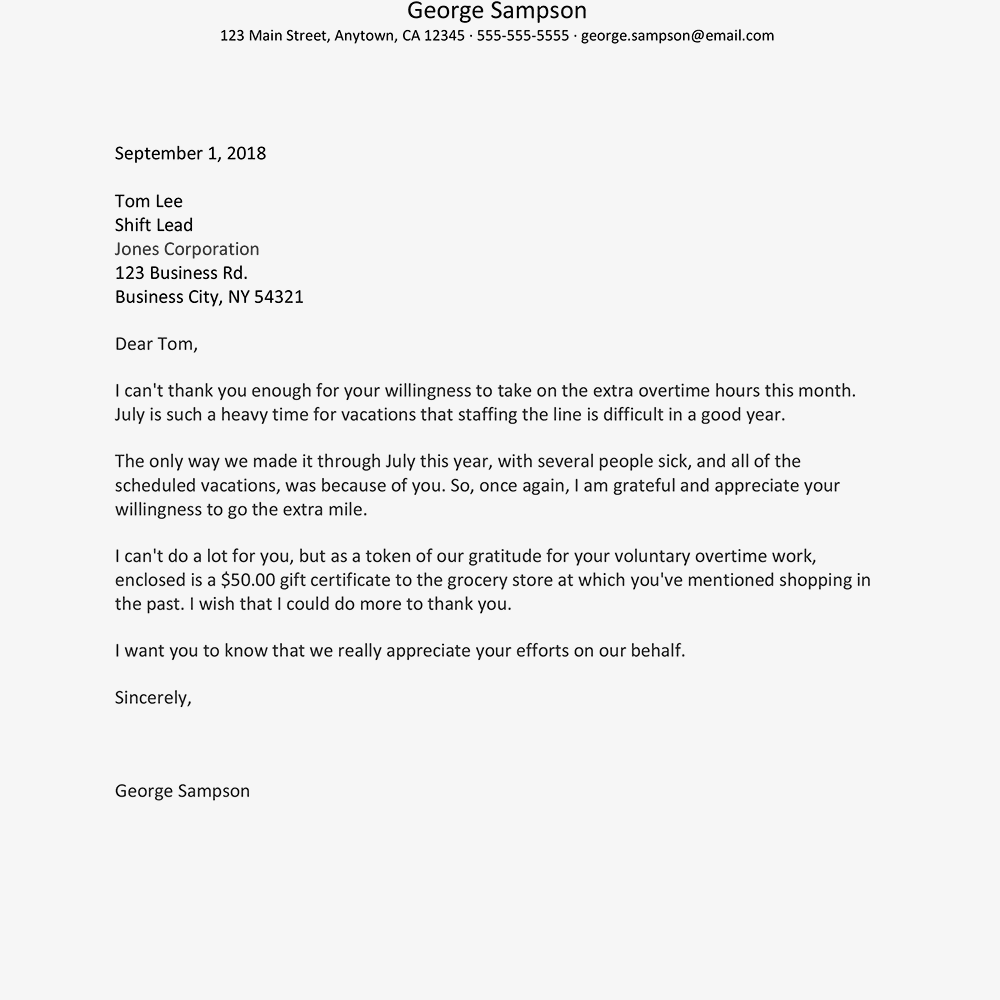 Thank You Letter To Staff For Support from www.thebalancecareers.com