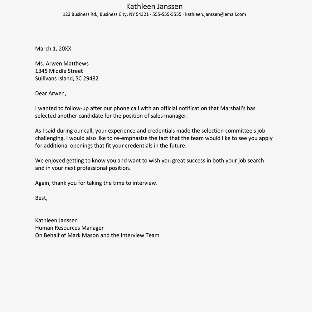 Sample Interview Rejection Letter from www.thebalancecareers.com