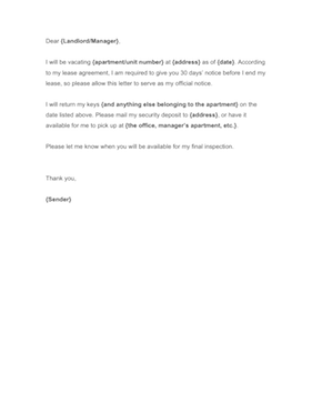 30 Days Notice Letter To Landlord Sample from cdn.businessformtemplate.com