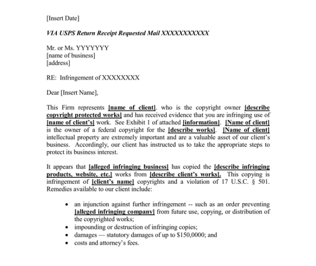 Cease And Desist Letter Copyright Infringement Template from www.wordtemplatesonline.net