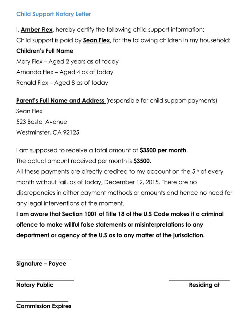 Sample Letter Of Child Support Agreement from www.doctemplates.net