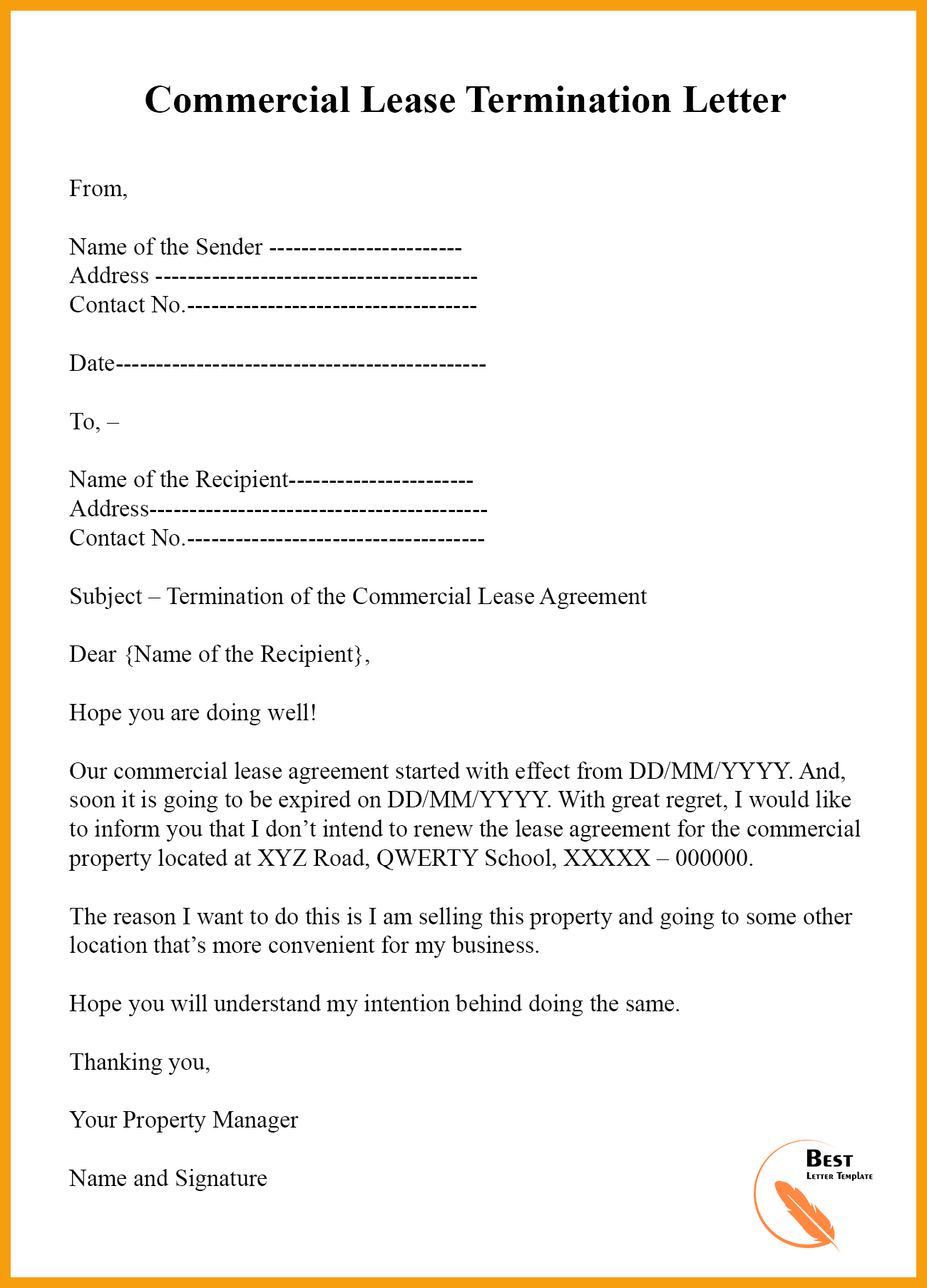 Sample Letter To Terminate Lease Agreement from bestlettertemplate.com