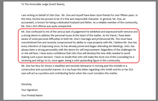 Letter Of Support For Court from eforms.com
