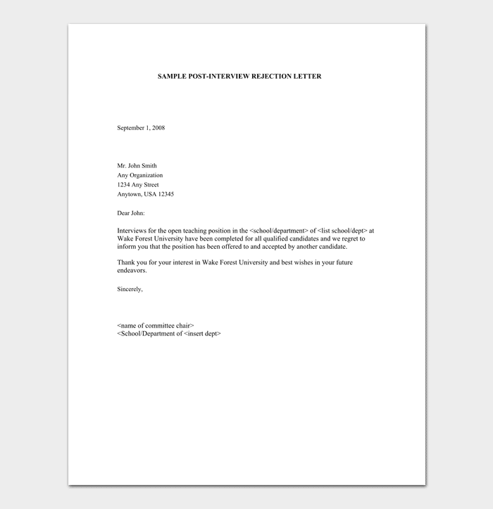 Rejection Letter Before Interview from images.docformats.com