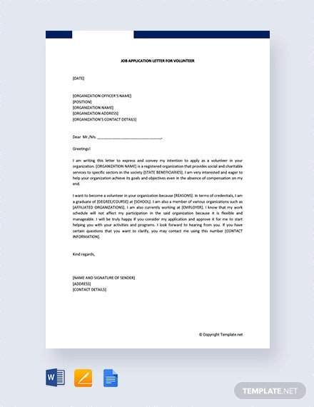 Sample Letter For Volunteering Work from images.template.net