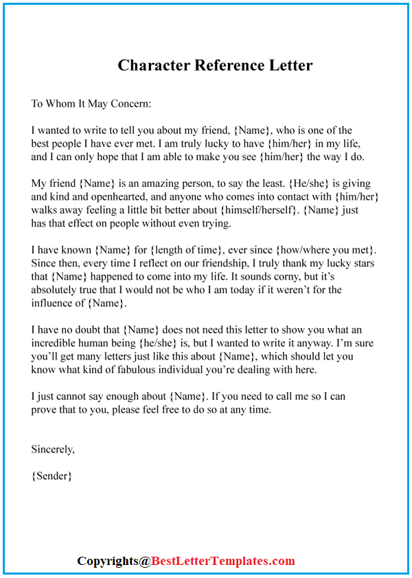 Example Of Character Letter from bestlettertemplates.com