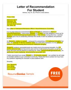 Writing A Reference Letter For A Student from resumegenius.com