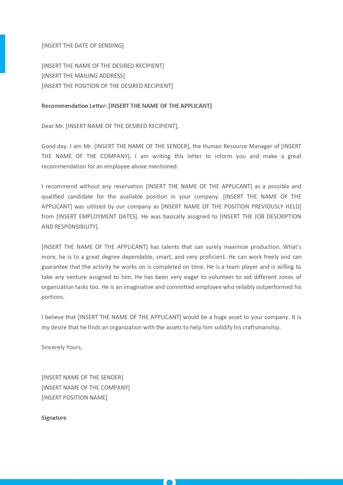 Letter Of Recommendation Template For Employee from www.geneevarojr.com