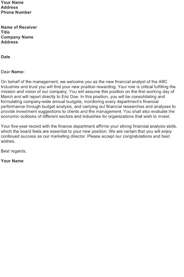 Congratulation On Your New Position Letter from officewriting.com