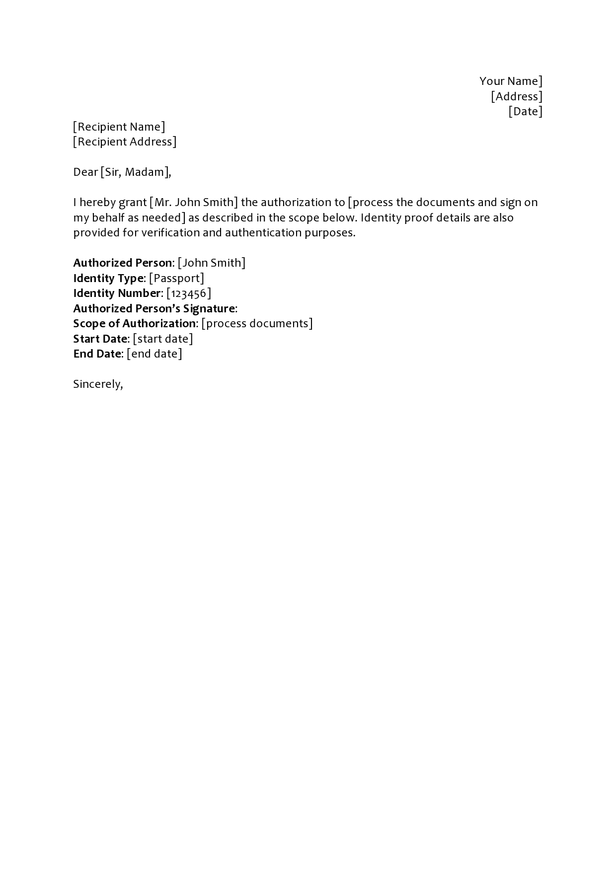 Authorization Letter Sample To Process Documents from templatearchive.com