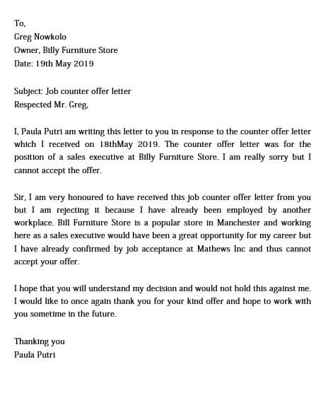 Job Offer Response Letter Negotiation from moussyusa.com