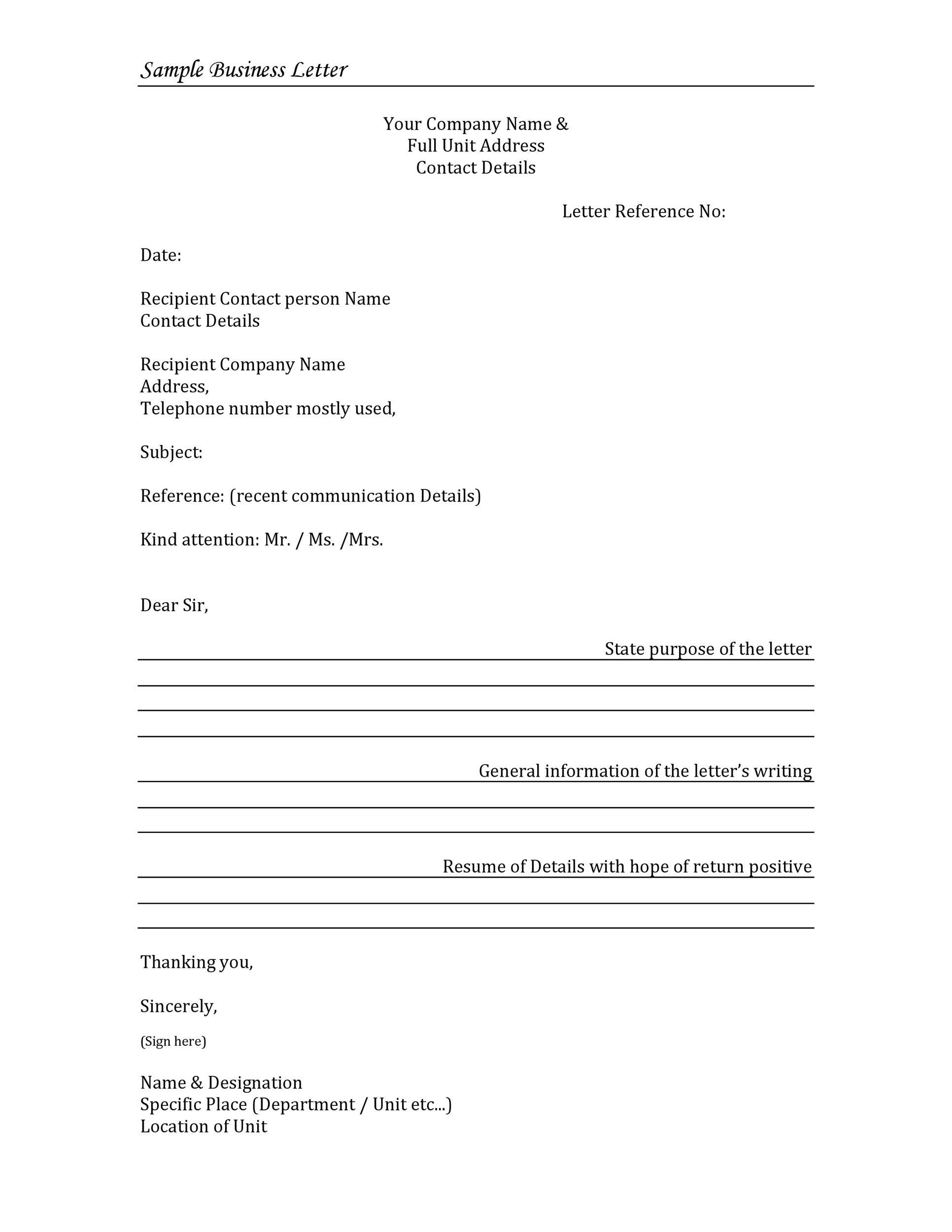 Formal Letter Business Letter Template Word from templatelab.com