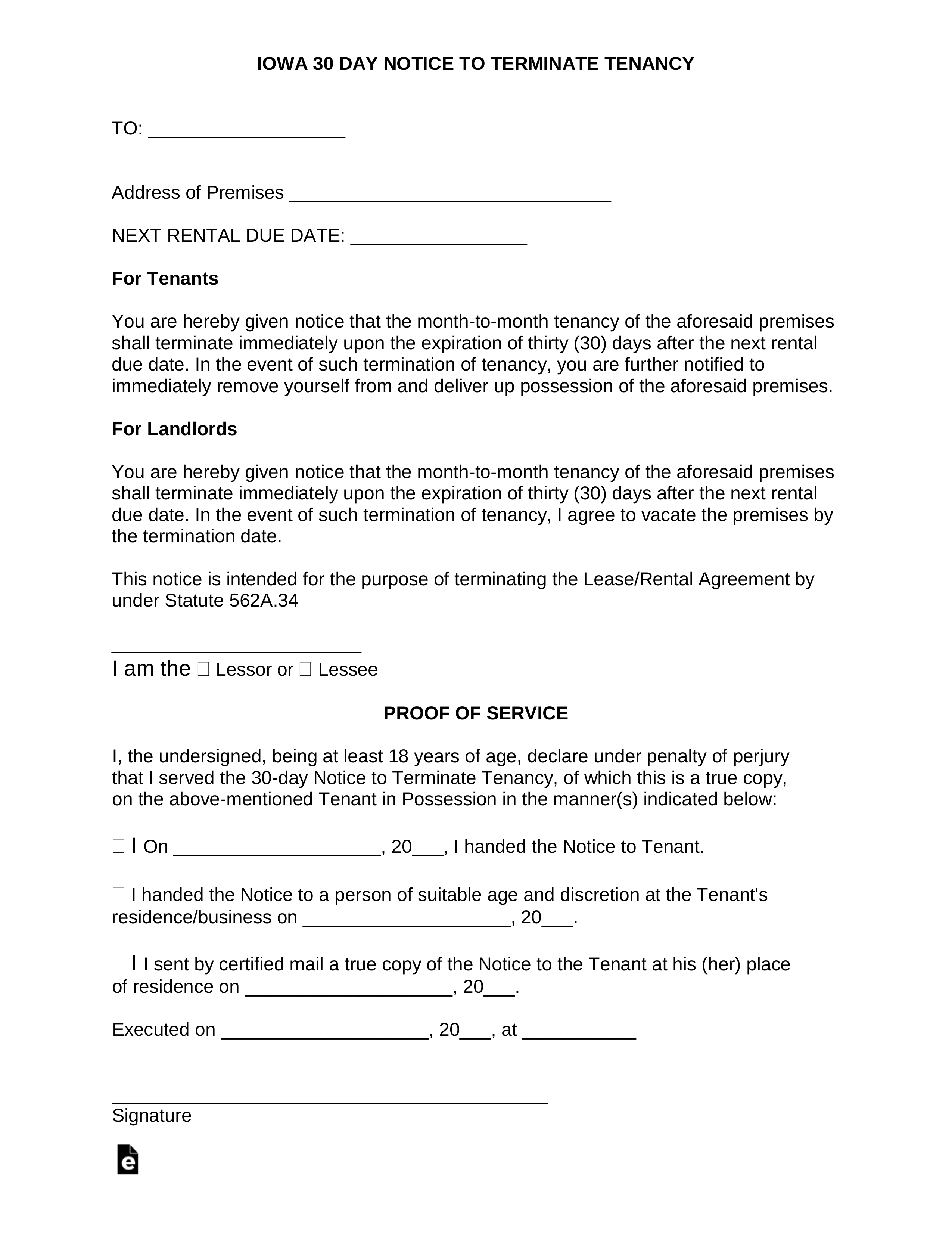 30 Day Lease Termination Letter from eforms.com