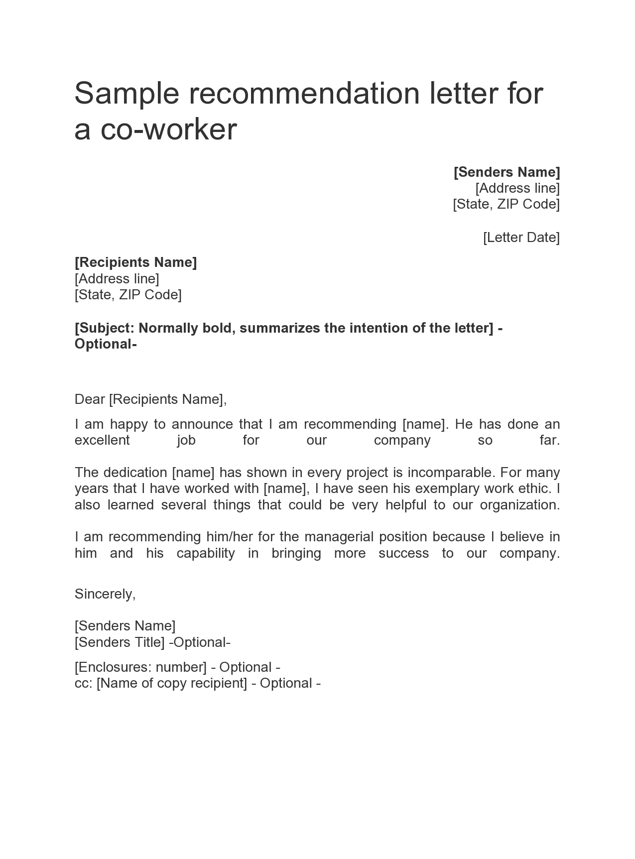 Sample Letter Of Recommendation For Job from templatearchive.com