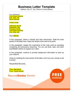 Business Letter Format Template from resumegenius.com