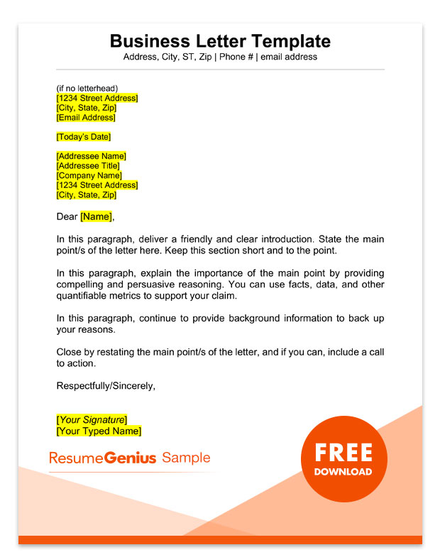 Formal Letter Format Samples from resumegenius.com
