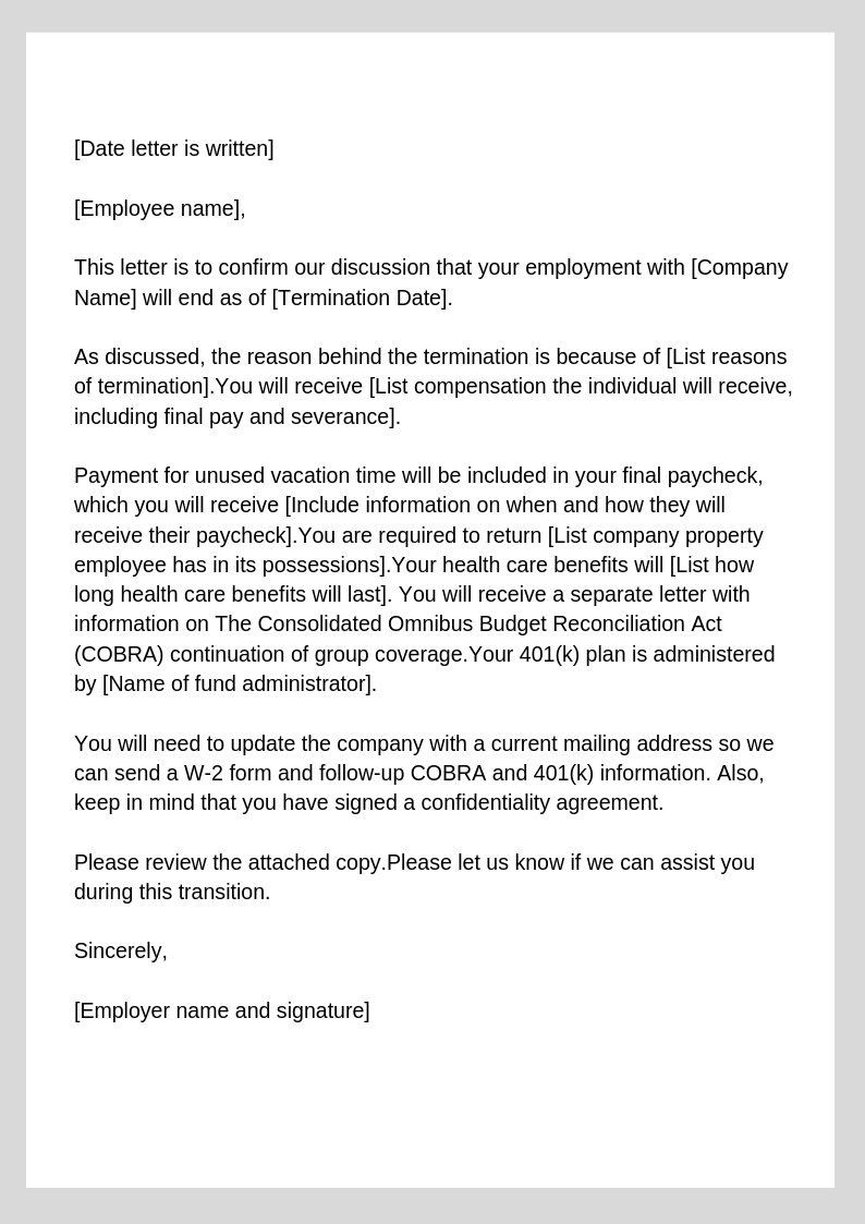 Termination Of Services Letter To Vendor from zenefits.com