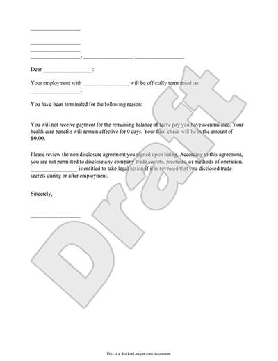 California At Will Employment Termination Letter from www.rocketlawyer.com